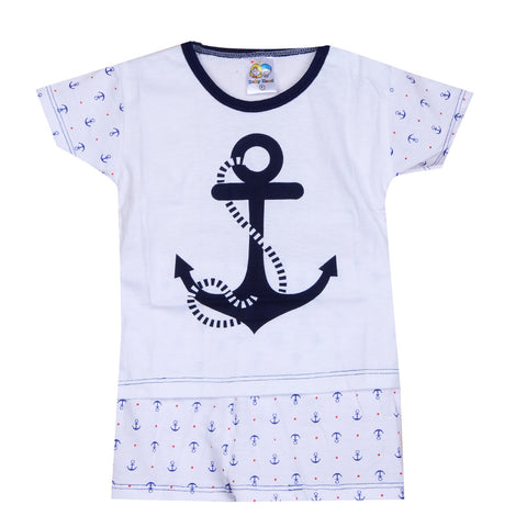 Anchor printed night suit - Navy