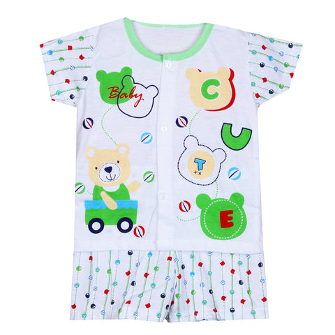 Babies Printed Night Suit - Green