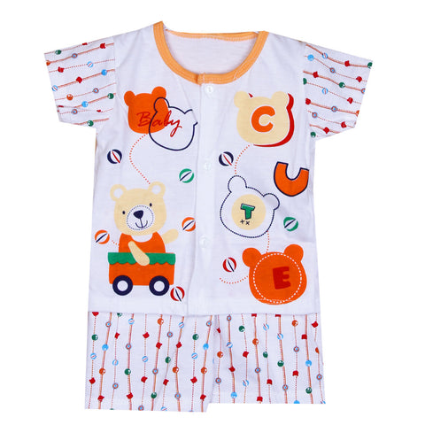 Babies Printed Night Suit - Orange