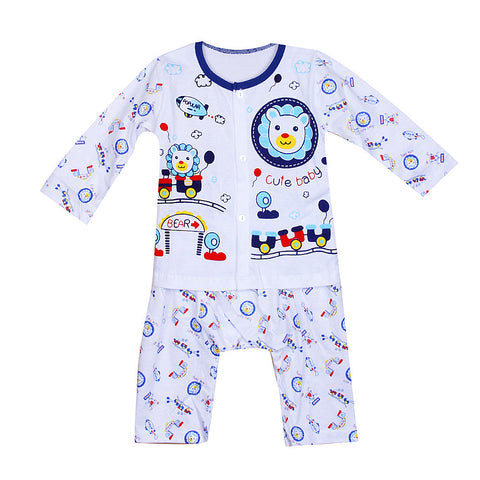 Babies Printed Night Suit - White/Navy Neck