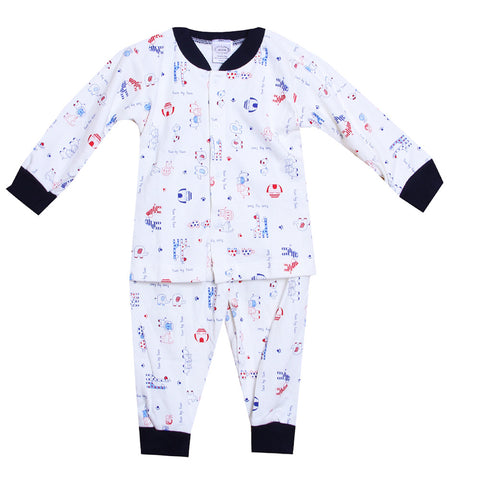 Animal Printed Night Suit - White/Navy