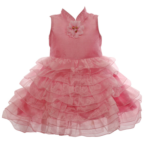Elegant collared party wear dress in Pink