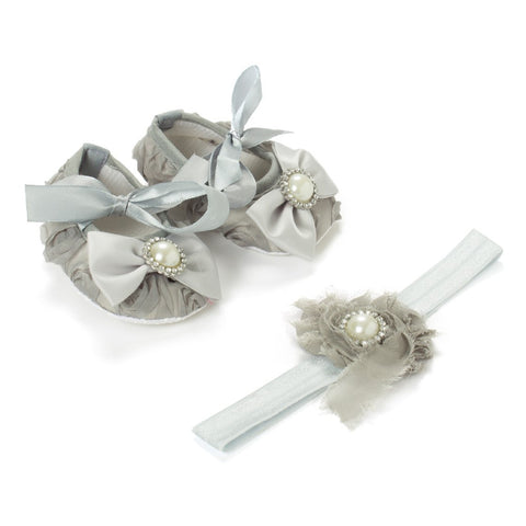 Pikaboo Newborn baby Headband baby Shoes combo - grey roses