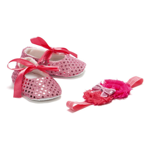 Pikaboo Newborn baby Headband baby Shoes combo - Pink Sequins