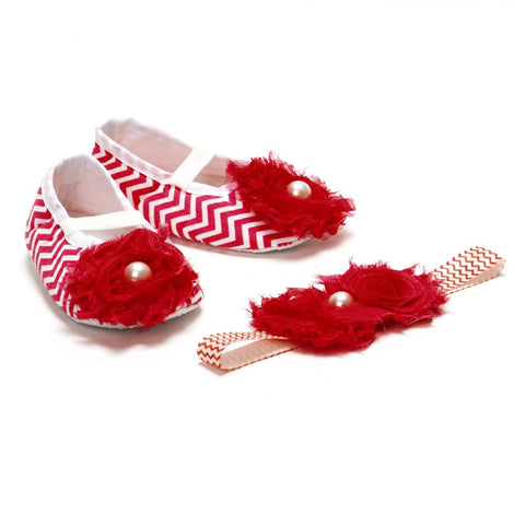 Pikaboo Newborn baby Headband baby Shoes combo - Chevron Red