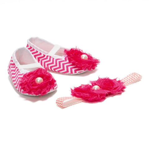 Pikaboo Newborn baby Headband baby Shoes combo - Chevron hot pink