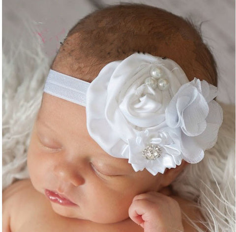Exquisite floral headbands - White