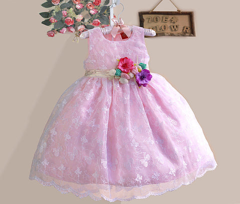 Embroidered umbrella frock with flower belt