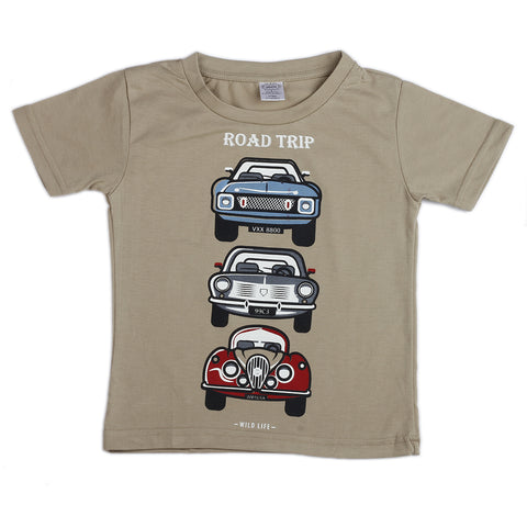 Car road trip printed boys woven t shirt - Beige