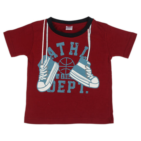 Boots printed boys knitted t shirt - Maroon