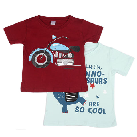 Bike & dinasour printed set pack knitted boys t shirt - Yellow