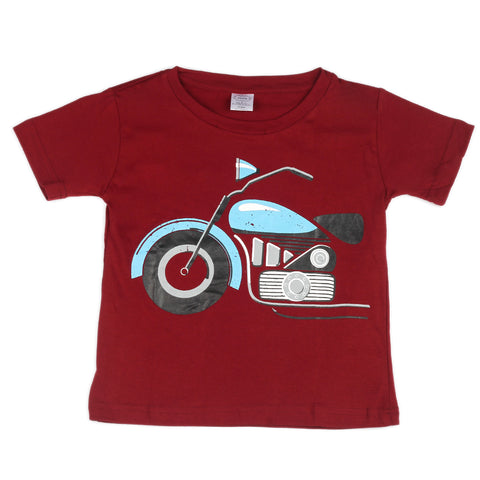 Bike printed Knitted t shirt - Maroon