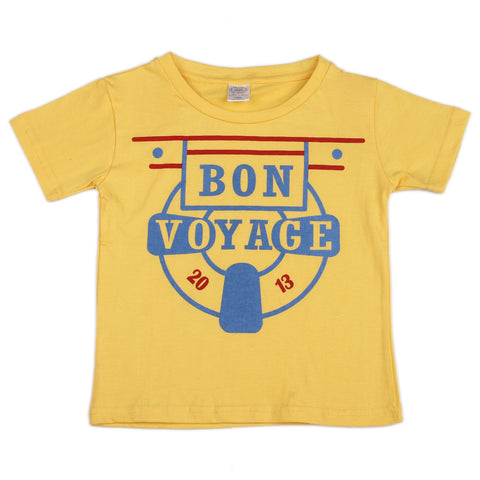 Bon Voyage printed boys Knitted t shirt - Yellow