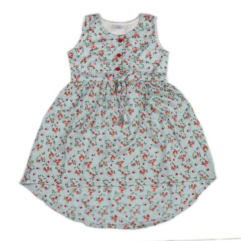 Aqua base rose printed woven hi-low dress for girls