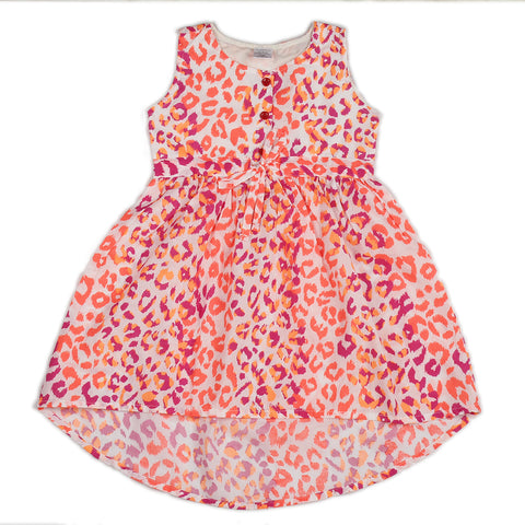 White base flourscent printed woven hi-low dress for girls