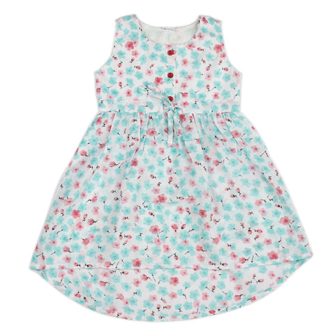 White base flower printed woven hi-low dress for girls