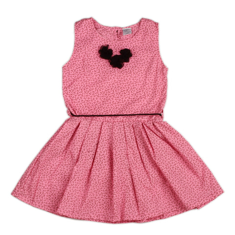 Pink Girls Dress with flower bow at neck & waist belt rope