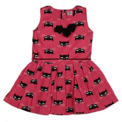 Cat printed Girls Dress with flower bow at neck & waist belt rope