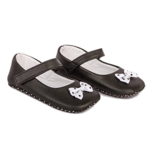 Black PU shoes with polka bow