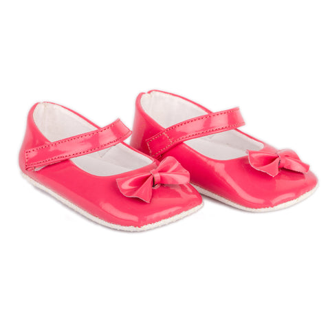 Pink PU shoes with pink Bow