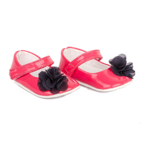 Pink PU shoes with black flowers