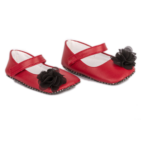 Red shoes with black flower