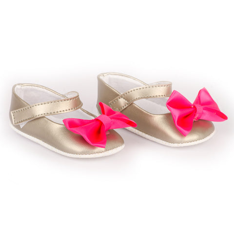 Metallic grey shoes with Pink Bling Bow