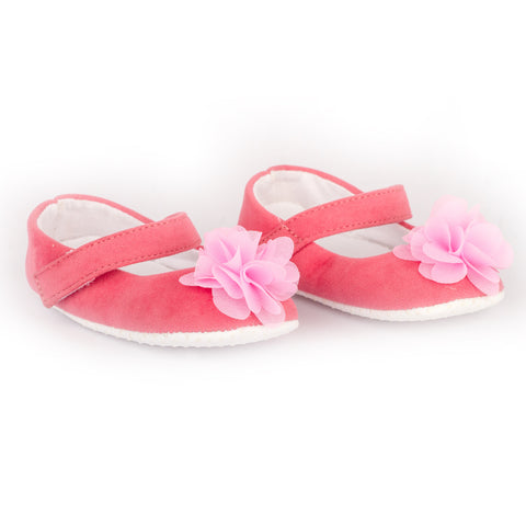 Pink Velvet shoes with pink flower