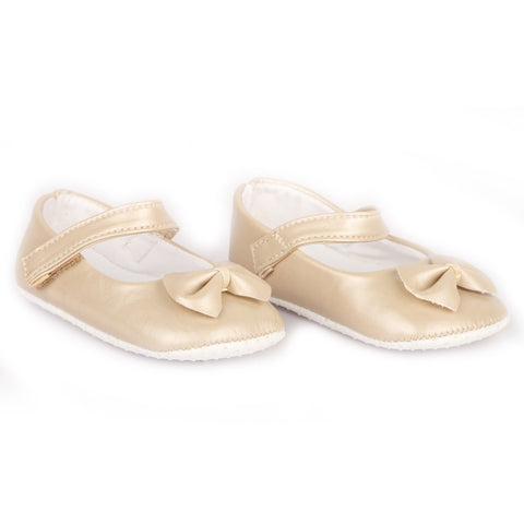 Beige PU shoes with bow