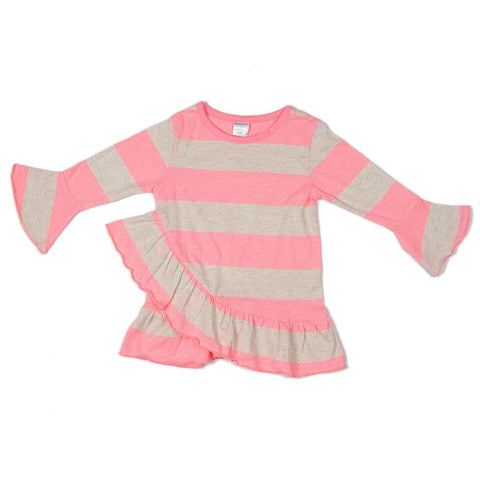 Frills & twirls top - Stripes