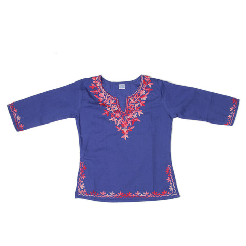 Blue Full Sleeves Kurti with Pink Embroidery