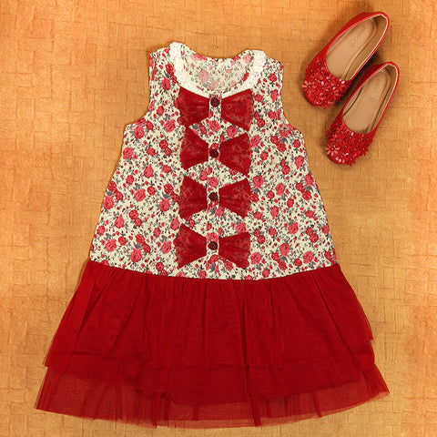 Sleeveless Bows Dress in Maroon