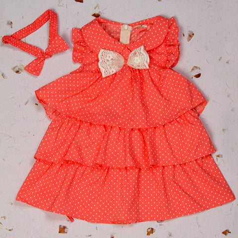 Orange Polka Dress with matching headband