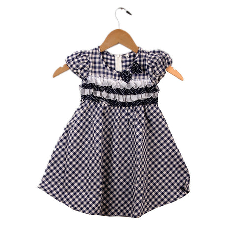 Gingham Print blue dress