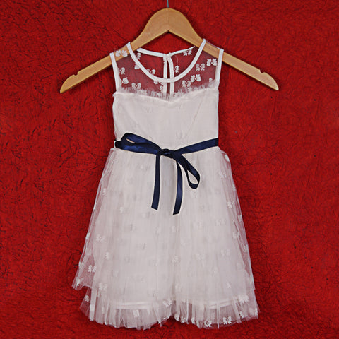 Briony Flower Dress with Sash - White