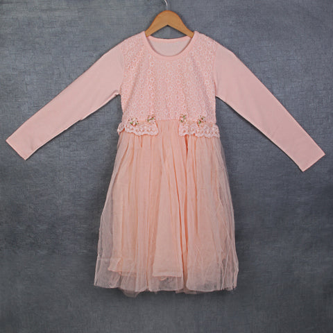 Aanya Lace Dress - Peach