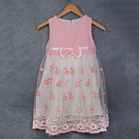 Pink White Embroidered Dress with Bow