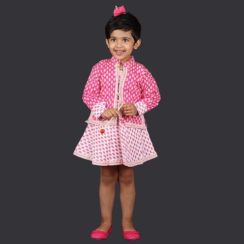 Pink and White Paisley Pattern Pinafore