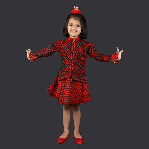Red and Black Small Motif Pinafore