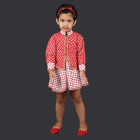 Red and White Paisley Pattern Pinafore