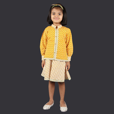 Yellow and White Small Motif Pinafore