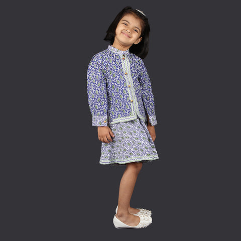 Blue and White Paisley Pattern Pinafore