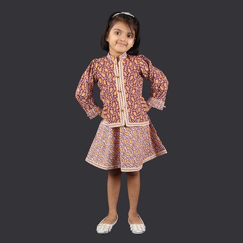 Maroon and White Paisley Pattern Pinafore