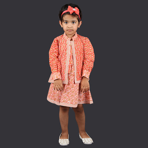 Orange and White Paisley Pattern Pinafore