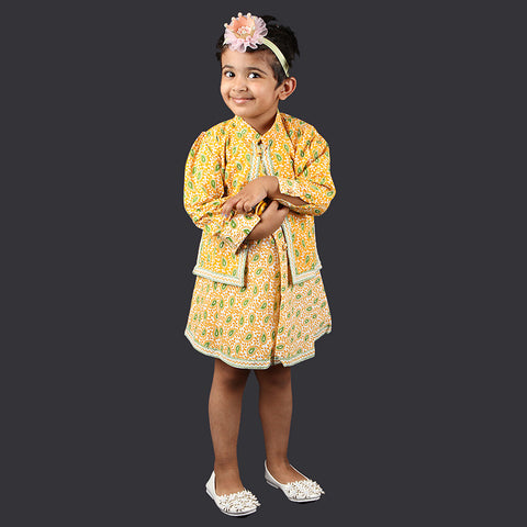 Yellow and Green Paisley Pattern Pinafore