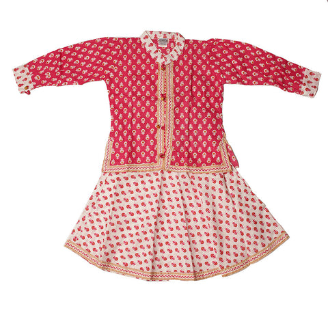 Pink and White Flower Motif Pinafore