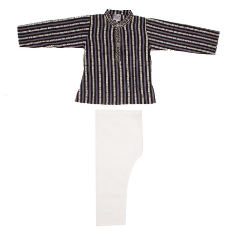Blue and Grey Striped Kurta Pajama