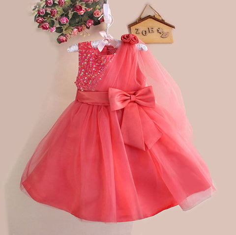 Princess bowknot sequined dress Watermelon Red