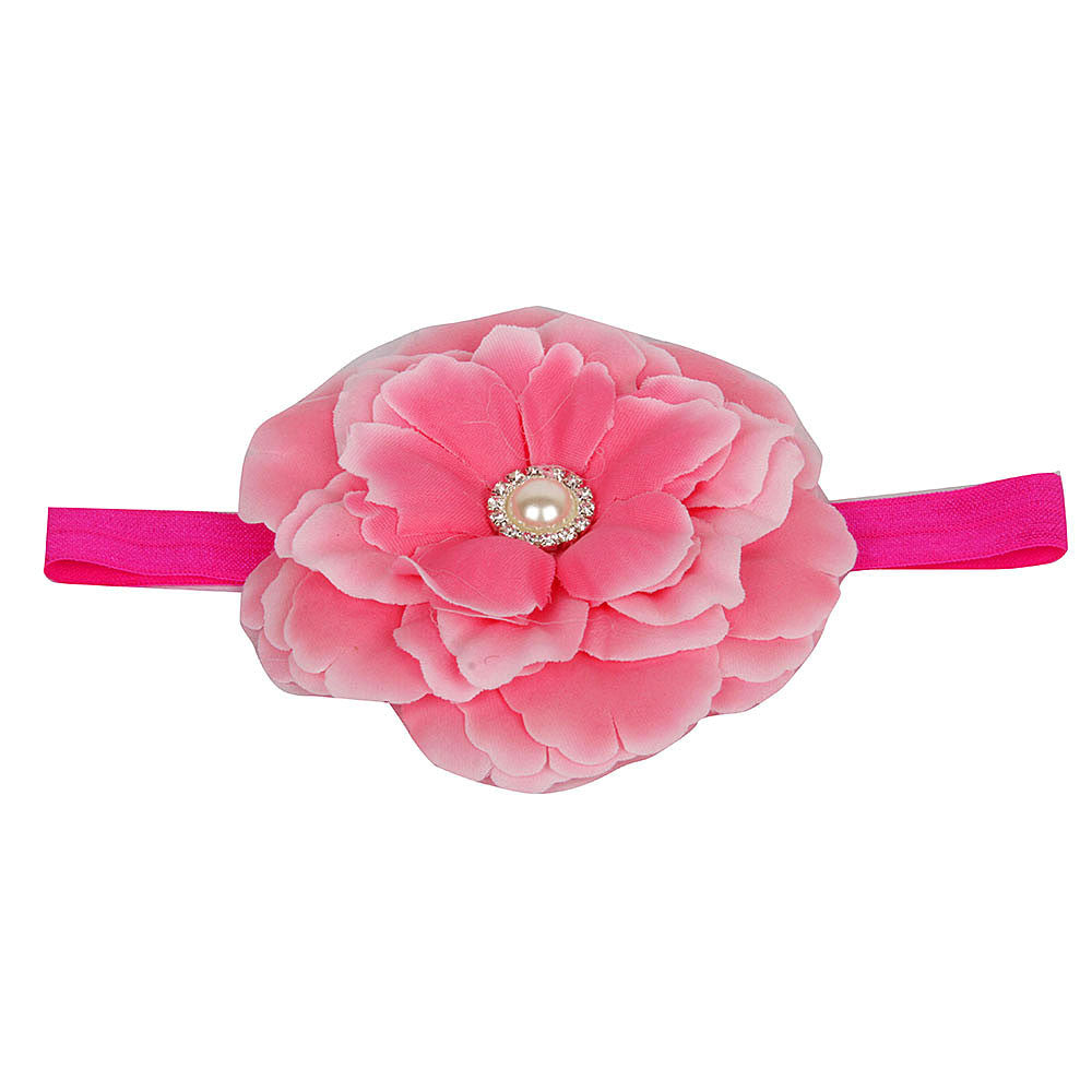 Big Pearly Flower Headband - Pretty Pink