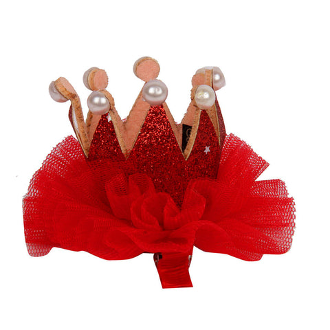 Pearl Studded Crown Clip - Red